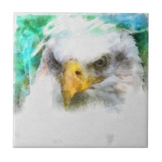 Watercolor Bald Eagle Ceramic Tile
