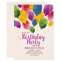 Watercolor Balloons Birthday Party Invitation