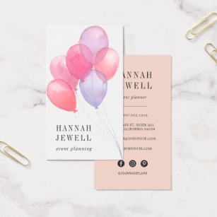 Kids party planner business cards templates zazzle watercolor balloons event planner business card cheaphphosting Image collections