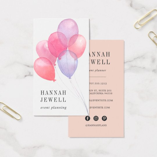 Watercolor balloons event planner business card zazzle watercolor balloons event planner business card colourmoves Images