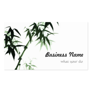 Watercolor Bamboo Stalks l Oriental Zen Touch Business Card