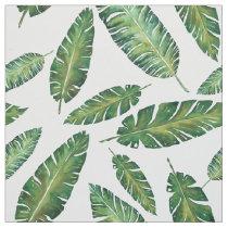 Watercolor banana leaves tropical summer pattern fabric