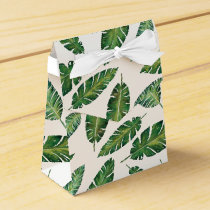 Watercolor banana leaves tropical summer pattern favor box