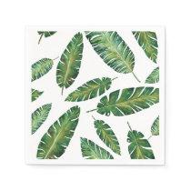 Watercolor banana leaves tropical summer pattern napkin
