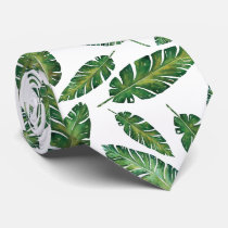 Watercolor banana leaves tropical summer pattern tie