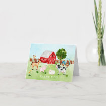 Watercolor Barn Animals Baby Shower Thank You Note