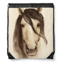 Watercolor Barn Animals   Horse Drawstring Bag