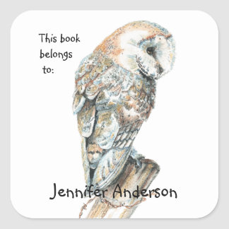 Watercolor Barn Owl Bird art Custom Bookplate Square Sticker