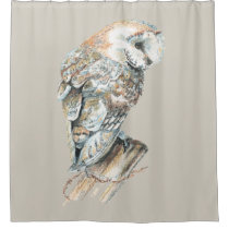 Watercolor Barn Owl Bird Custom Background color Shower Curtain