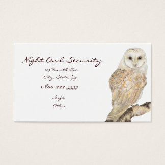 Watercolor Barn Owl Security Business Business Card