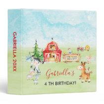 Watercolor Barnyard and Farm Animals Kids Birthday 3 Ring Binder