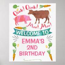 Watercolor Barnyard Farm Themed Birthday Poster