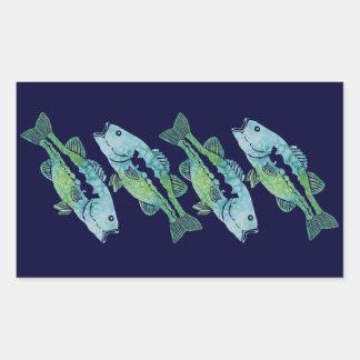 Watercolor Bass Rectangular Stickers