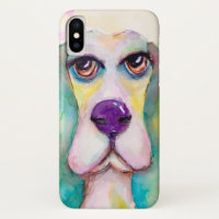 Watercolor Basset Hound Dog Artistic Cute Colorful iPhone XS Case