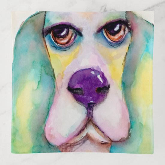 Watercolor Basset Hound Dog Artistic Cute Colorful Trinket Trays