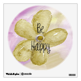 Watercolor Be Happy Flower Wall Decals