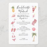 """Watercolor Beach Bachelorette Weekend Itinerary Invitation<br><div class=""""desc"""">Watercolor Beach Theme Modern Calligraphic Bachelorette Weekend schedule timeline. Design features an elegant modern style text layout. To make advanced changes,  please select """"Click to customize further"""" option under Personalize this template.</div>"""