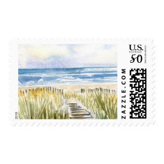 Watercolor Beach Boardwalk Ocean Seascape Postage
