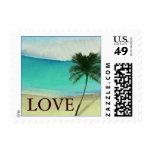 Watercolor Beach Destination Wedding Stamps