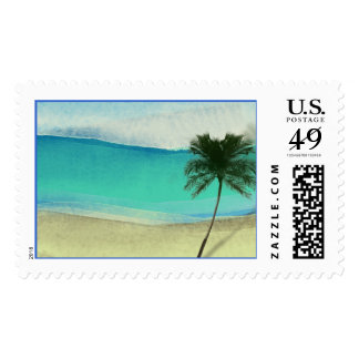 Watercolor Beach Destination Wedding Stamps