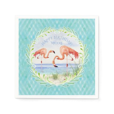 Beach Themed Watercolor Beach Flamingo Happy Birthday Party Paper Napkin