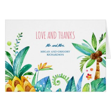 lovelywow watercolor beach palms pineapple wedding thank you card