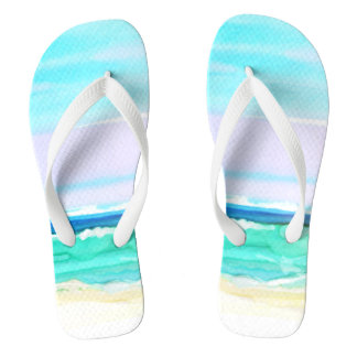 Watercolor Beach Scene 1 Flip Flops