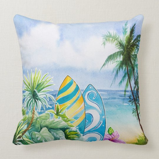 Beach Scene Throw Pillows : Watercolor beach scene throw pillow Zazzle.com