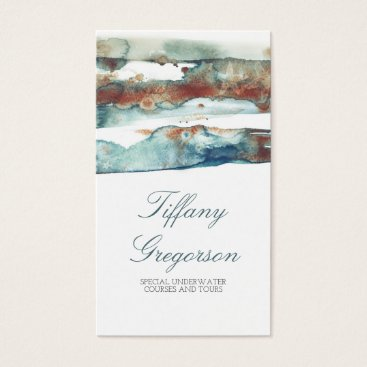 Beach Themed Watercolor Beach Splash Modern Tropical Ocean Business Card
