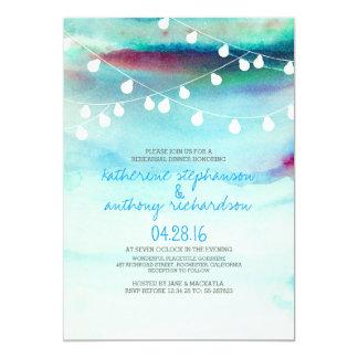 watercolor beach string lights rehearsal dinner card