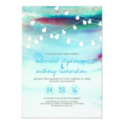 watercolor beach string lights wedding invitation Zazzle