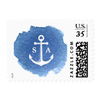 Watercolor beach wedding nautical anchor monogram postage