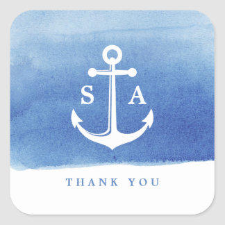 Watercolor beach wedding nautical anchor thank you square sticker