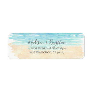 Watercolor Beach Wedding Return Address Label