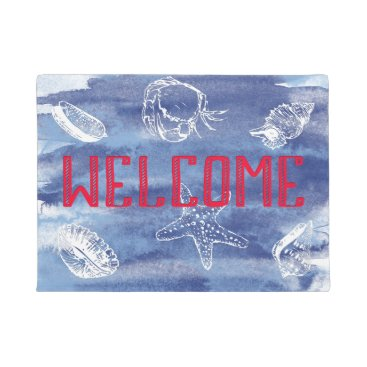 Beach Themed Watercolor Beach Welcome Doormat
