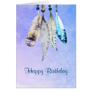 Native american happy birthday cards greeting photo cards zazzle watercolor beads 39n feathers happy birthday card bookmarktalkfo Choice Image
