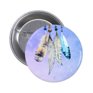Watercolor Beads 'n Feathers on Bluish Purple Button