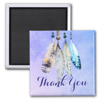 Watercolor Beads 'n Feathers on Bluish Purple Magnet
