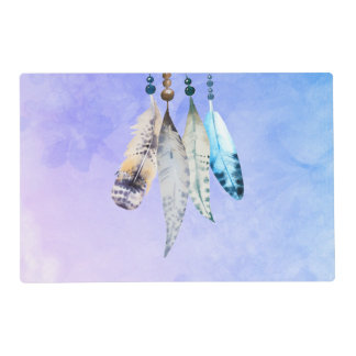 Watercolor Beads 'n Feathers on Purple Background Placemat