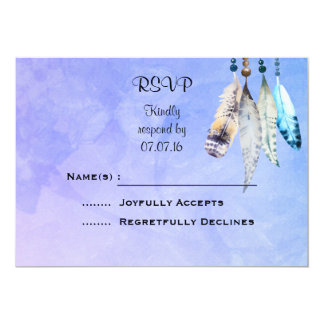 Watercolor Beads 'n Feathers Wedding RSVP Card