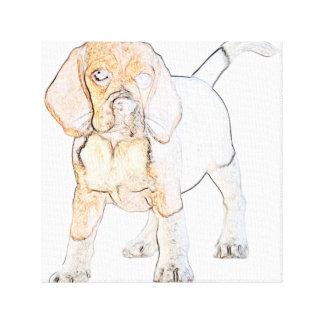 Watercolor Beagle Puppy Dog Canvas Print