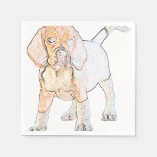 Watercolor Beagle Puppy Dog Paper Napkin