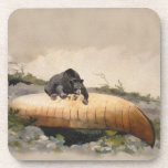 Watercolor Bear on a Canoe Vintage Painting Drink Coaster
