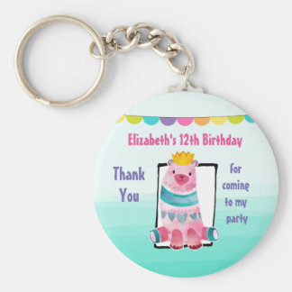Watercolor Bear Wearing a Crown Birthday Thanks Keychain