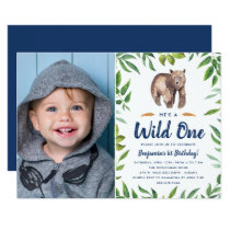 Watercolor Bear Wild One | Photo Birthday Party Card