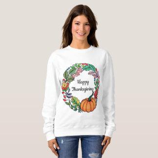 Watercolor Beautiful Pumpkin Wreath with leaves Sweatshirt