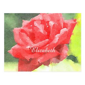 Watercolor Beautiful Red Hybrid Tea Rose Flower Postcard