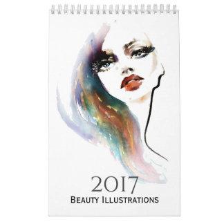 Watercolor beauty illustration calendar 2017