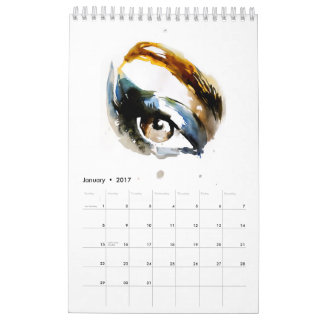 Watercolor beauty illustration calendar 2017