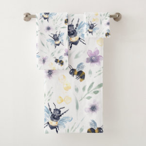 Watercolor Bee Pattern Bath Towel Set